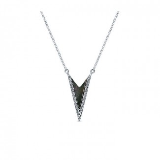 14k White Gold Diamond Black Mother Of Pearl Fashion Necklace