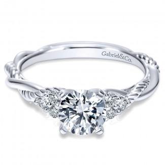 14K White Gold Diamond Criss Cross Riata 14K White Gold Engagement Ring ER8817W44Jj