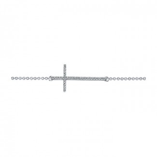 14k White Gold Diamond Cross Bracelet