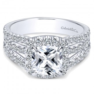 14K White Gold Diamond Cushion Cut Halo Triple Pave 14K White Gold Engagement Ring ER8903W44Jj