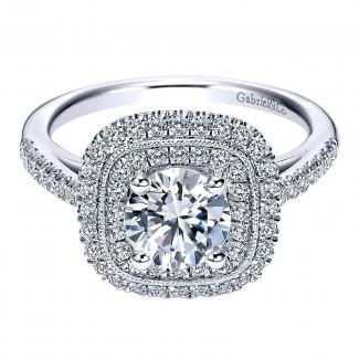 14K White Gold Diamond Double Halo 14K White Gold Engagement Ring ER8174W44Jj
