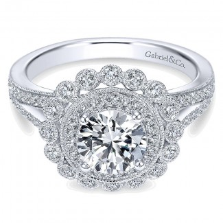 14K White Gold Diamond Double Pave Halo With Channel Split Shank 14K White Gold Engagement Ring ER75