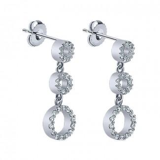 14k White Gold Diamond Drop Earrings