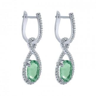 14k White Gold Diamond Green Amethyst Drop Earrings