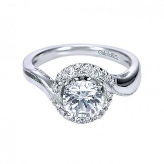 14K White Gold Diamond Halo 14K White Gold Engagement Ring ER7714W44Jj