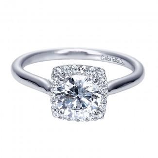 Engagement Ring 14k White Gold Diamond Halo