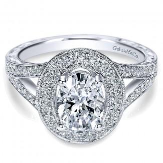 14K White Gold Diamond Halo 14K White Gold Engagement Ring ER8806W44Jj