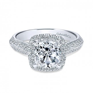 14K White Gold Diamond Halo 14K White Gold Engagement Ring ER8872W44Jj