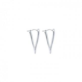 14k White Gold Diamond Intricate Hoop Earrings