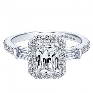 14K White Gold Diamond Pave Emerald Cut Halo With Bar Baguette Setting 14K White Gold Engagement Rin