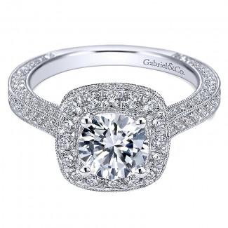 14K White Gold Diamond Pave Halo Milgrain ANd Channel Set 14K White Gold Engagement Ring ER7256W44Jj