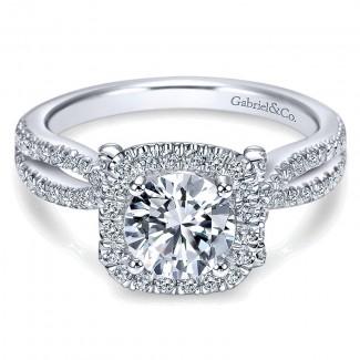 14K White Gold Diamond Pave Halo Split Shank 14K White Gold Engagement Ring ER7806W44Jj