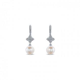 14k White Gold Diamond Pearl Drop Earrings