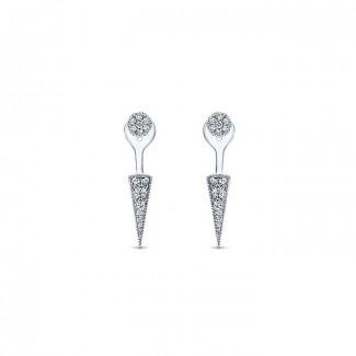 14k White Gold Diamond Peek A Boo Earrings
