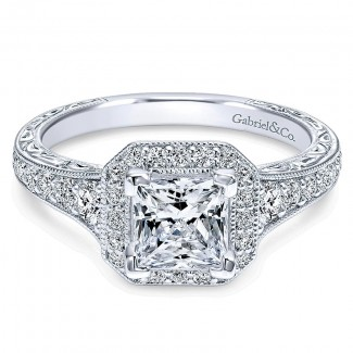 14K White Gold Diamond Princess Cut Halo With Channel Setting 14K White Gold Engagement Ring ER11793