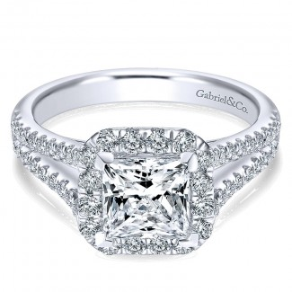 14K White Gold Diamond Princess Cut Halo With Pave Split Shank 14K White Gold Engagement Ring ER7262