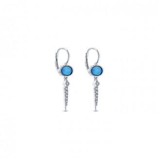 14k White Gold Diamond Rock Crystal & Turquoise Drop Earrings