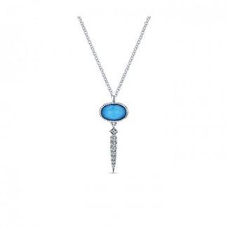 14k White Gold Diamond Rock Crystal&turquoise Fashion Necklace