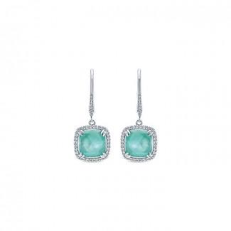 14k White Gold Diamond Rock Crystal&white Mother Pearl&green Onyx Drop Earrings