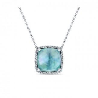 14k White Gold Diamond Rock Crystal&white Mother Pearl&green Onyx Fashion Necklace
