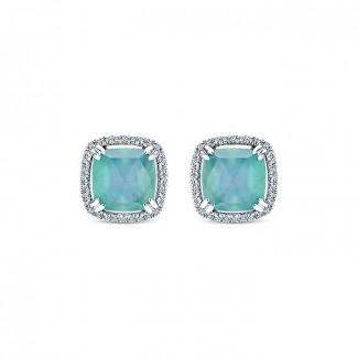 14k White Gold Diamond Rock Crystal&white Mother Pearl&green Onyx Stud Earrings