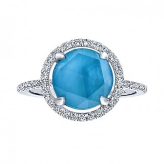 14k White Gold Diamond Rock Crystal&white Mother Pearl&turquoise Fashion Ladies' Ring