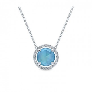 14k White Gold Diamond Rock Crystal&white Mother Pearl&turquoise Fashion Necklace