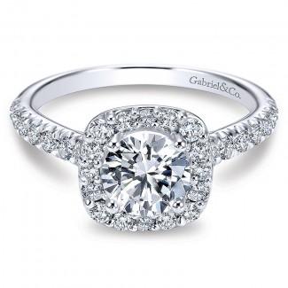 14K White Gold Diamond Round Halo With Pave Shank 14K White Gold Engagement Ring ER6872W44Jj