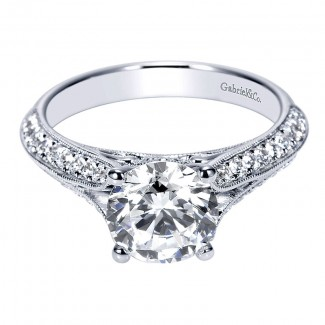 Engagement Ring 14k White Gold Diamond Split Shank