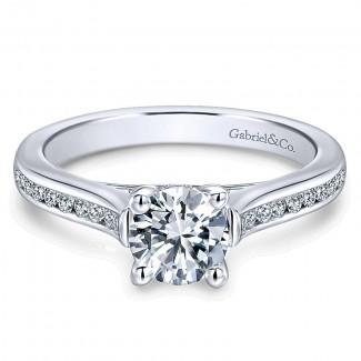 14K White Gold Diamond Straight Channel 14K White Gold Engagement Ring ER12321R3W44Jj