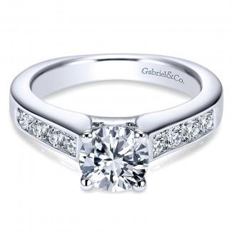 14K White Gold Diamond Straight Channel With European Shank 14K White Gold Engagement Ring ER3962W44