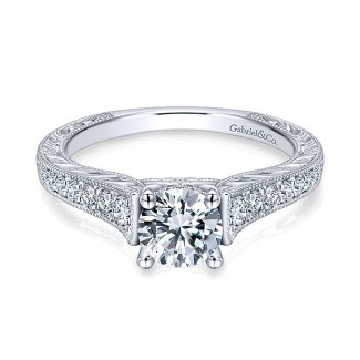 14K White Gold Diamond Straight Channel ANd Hand Cut Etched 14K White Gold Engagement Ring ER12282R3