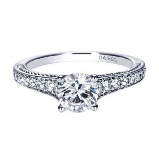 14k White Gold Diamond Straight Engagement Ring ER8827W44JJ
