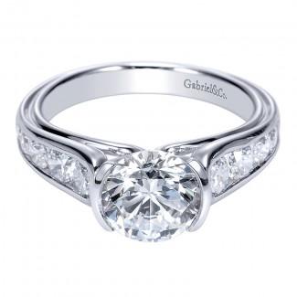 14K White Gold Diamond Straight 14K White Gold Engagement Ring ER8895W44Jj