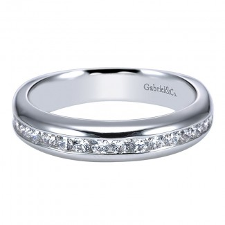 Wedding Band 14k White Gold Diamond Straight