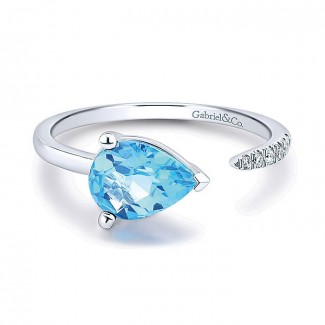 14k White Gold Diamond Swiss Blue Topaz Fashion Ladies' Ring
