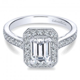14K White Gold Emerald Cut Diamond Halo With Channel Setting 14K White Gold Engagement Ring ER7528W4