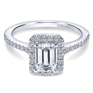 14K White Gold Emerald Cut Diamond Halo With Pave Shank 14K White Gold Engagement Ring ER5822W44Jj