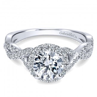 14K White Gold Halo ANd Twisted Diamond Pave Shank 14K White Gold Engagement Ring ER7543W44Jj