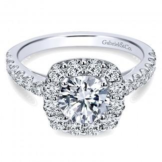 14K White Gold Pave Diamond Halo 14K White Gold Engagement Ring ER7480W44Jj