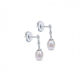 14k White Gold Pearl Drop Earrings