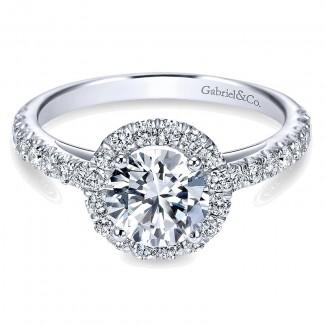 14K White Gold Round Diamond Halo With Pave Shank 14K White Gold Engagement Ring ER7261W44Jj