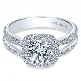 14K White Gold Round Diamond Halo Pave Split Shank 14K White Gold Engagement Ring ER7786W44Jj