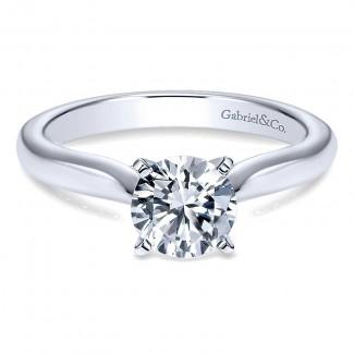 14K White Gold Solitaire Diamond With Rounded Shank 14K White Gold Engagement Ring ER6684W4Jjj