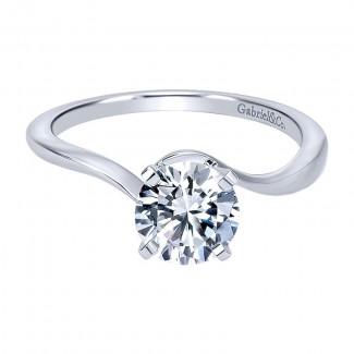 14K White Gold Solitaire 14K White Gold Engagement Ring ER11588R3W4Jjj