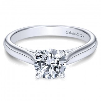 14K White Gold Solitaire Four Prong With Cathedral Setting 14K White Gold Engagement Ring ER6672W4Jj