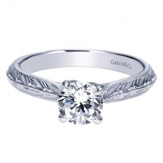 Engagement Ring 14k White Gold Straight