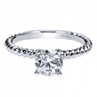 Engagement Ring 14k White Gold Straight