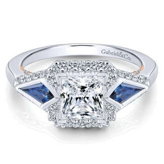 14K White/Pink Gold Diamond ANd SApphire 3 Stones Halo Two-Tone Engagement Ring ER12821S4T44SA