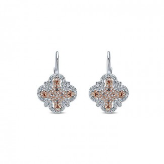14k White/pink Gold Diamond Drop Earrings
